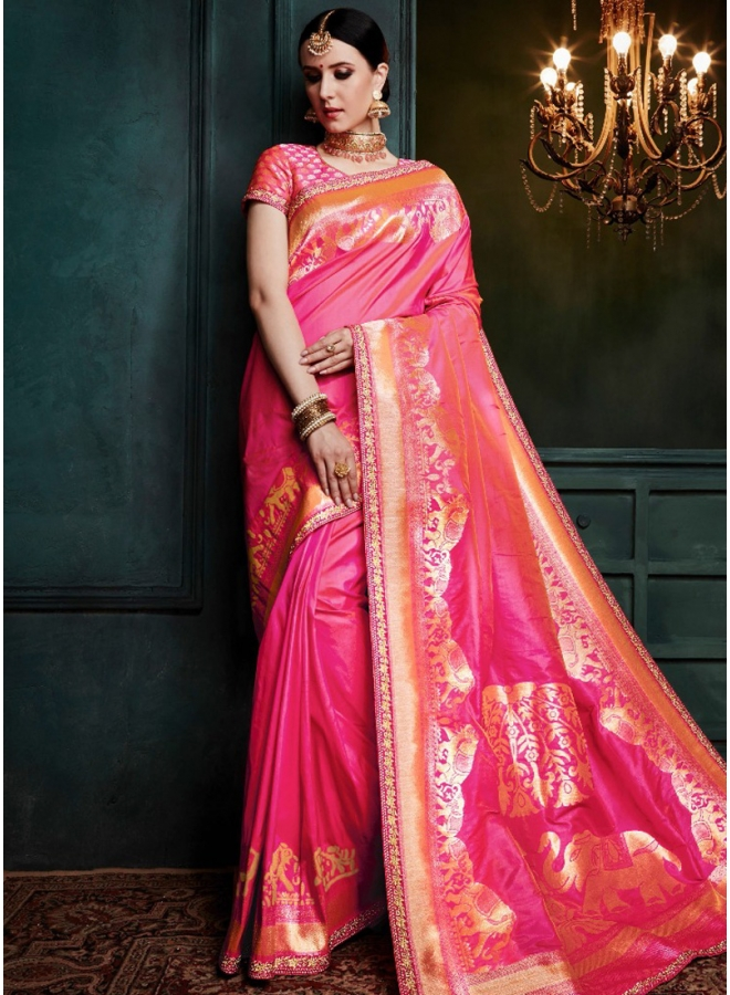 Hot Pink Golden Print Pure Banarasi Silk Wedding Party Wear Designer Saree