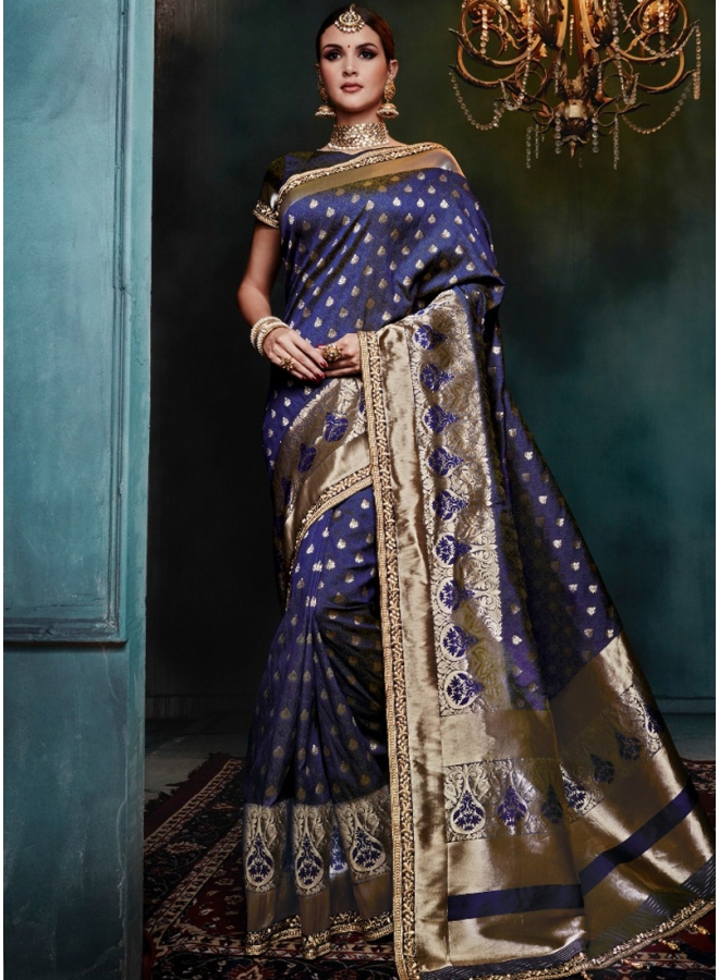 Navy Blue Golden Print Pure Banarasi Silk Wedding Party Wear Designer Saree