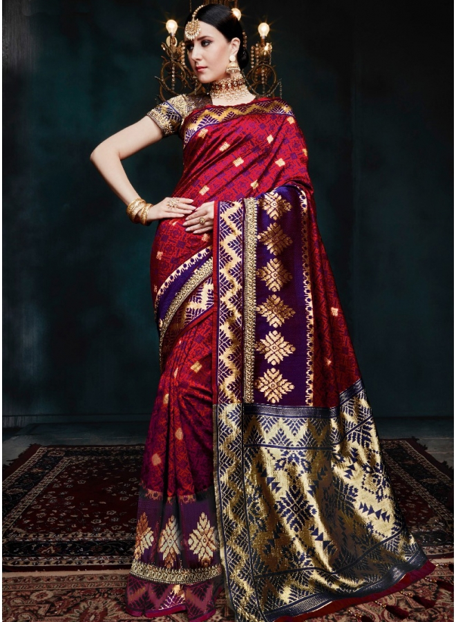 Red Blue Golden Print Pure Banarasi Silk Wedding Party Wear Designer Saree