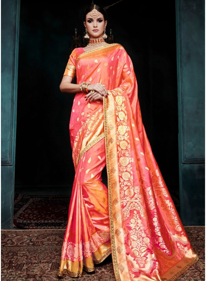Tomato Red Golden Print Pure Banarasi Silk Wedding Party Wear Designer Saree
