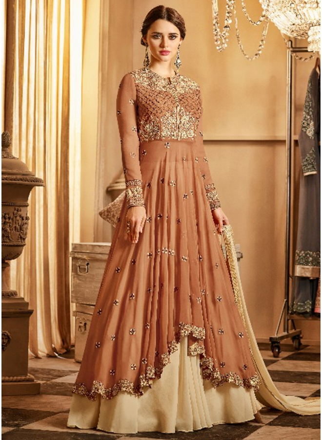 Brown Embroidery Work Georgette Cut Work Designer Fancy Anarkali Suit
