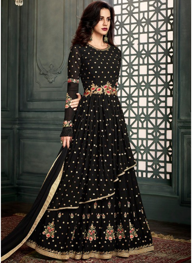 Black Heavy Embroidery Work Pure Georgette Designer Fancy Anarkali Suit