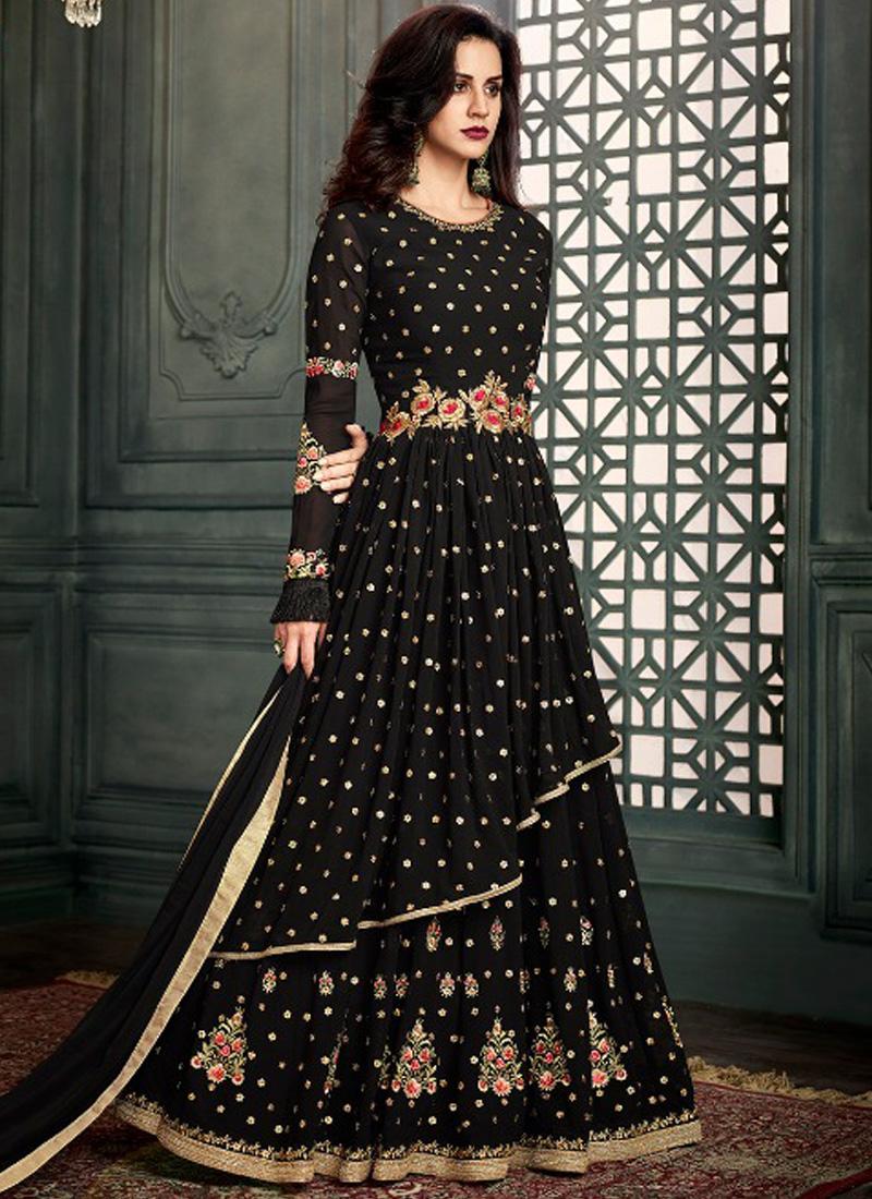 573507dd51 Black Heavy Embroidery Work Pure Georgette Designer Fancy Anarkali Suit