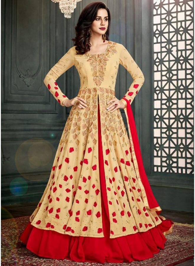 Cream Red Embroidery Work Pure Georgette Fancy Designer Anarkali Suit