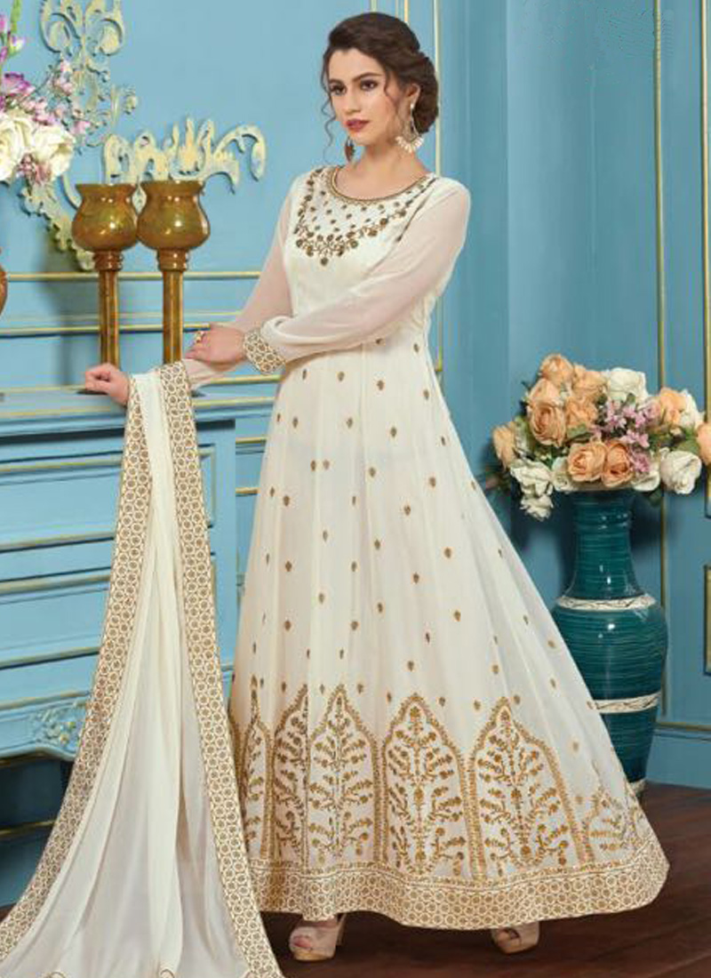 74311c74ac Off White Embroidery Multi Work Georgette Fabric Designer Party Wear Gown