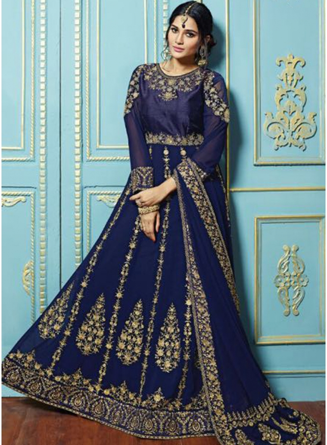 Navy Blue Embroidery Work Georgette Fabric Designer Function Wear Gwon