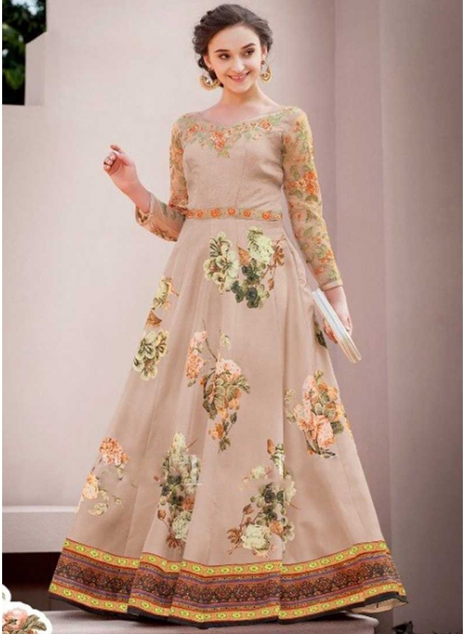 Chikku Colour Embroidery Work Satin Silk Designer Party Wear Gown