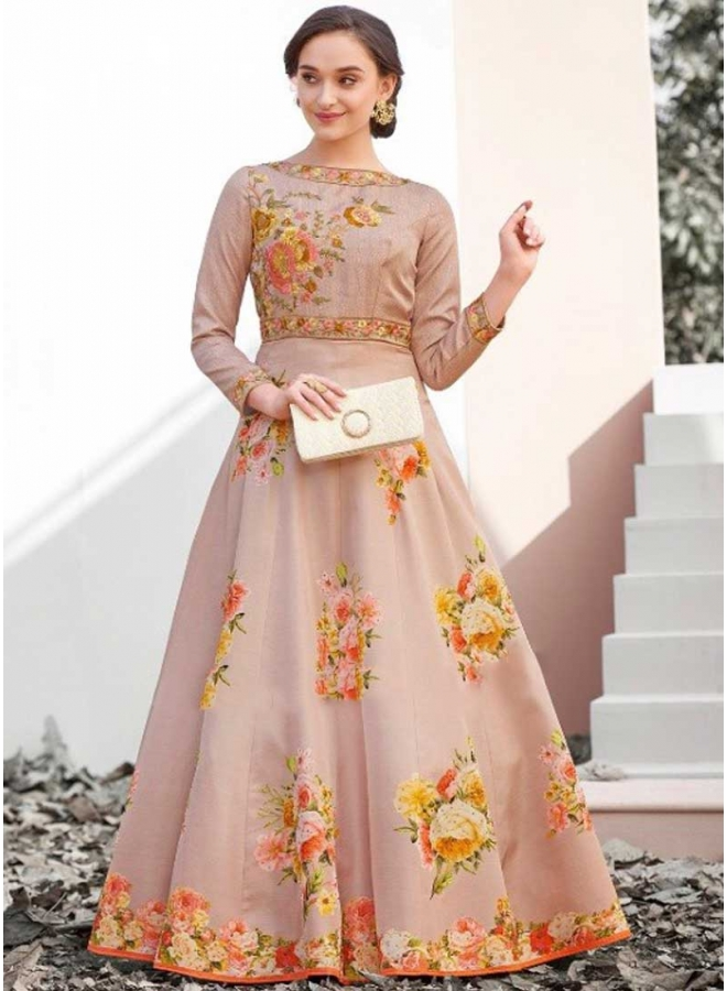 Peach Colour Embroidery Thread Work Satin Silk Designer Party Wear Gown
