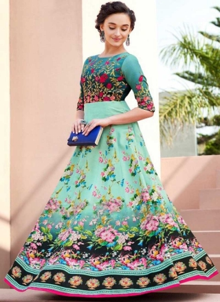 Image result for green brocade with mult color flowers gown