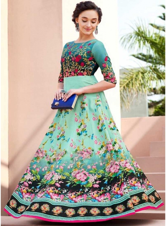 Turquoise n Dark Grey Embroidery Work N Flower Printed Satin Silk Designer Gown