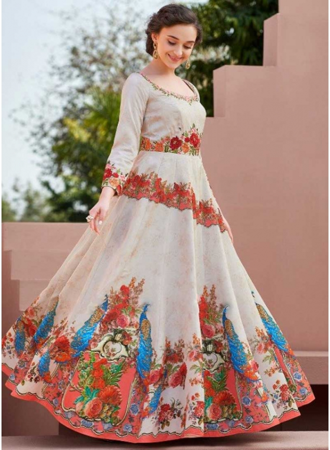Cream Colour Embroidery Work N Printed Satin Silk Fabric Party Wear Gown