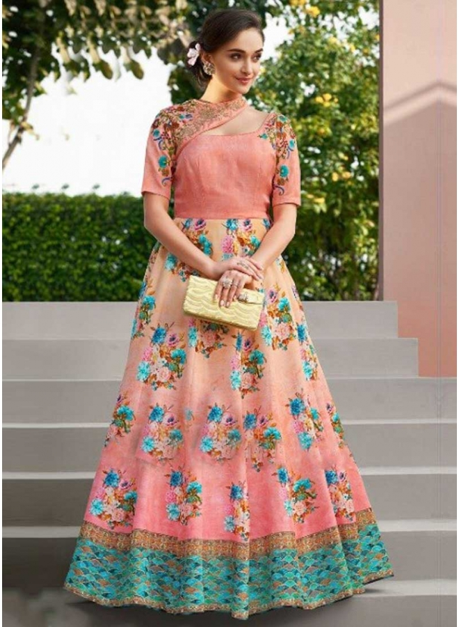Pink Colour Embroidery Work n Printed Satin Silk Designer Party Wear Gown