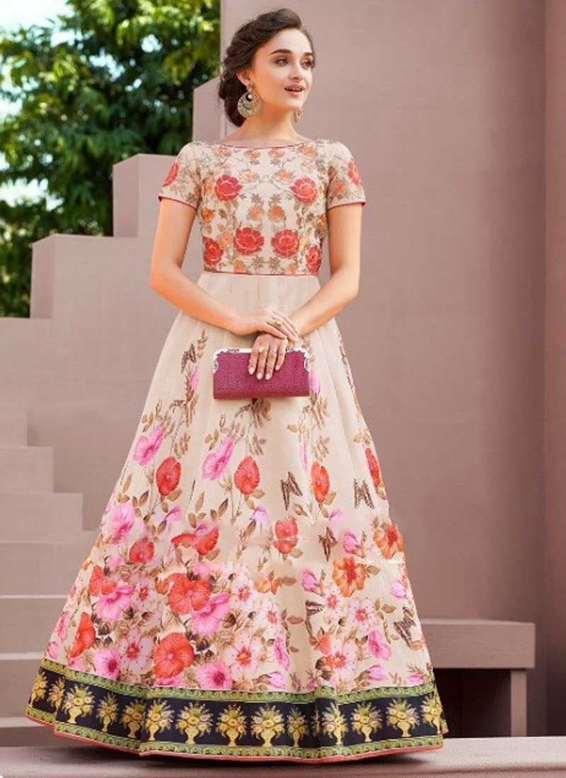Light Pink Colour Embroidery Work N Printed Satin Silk