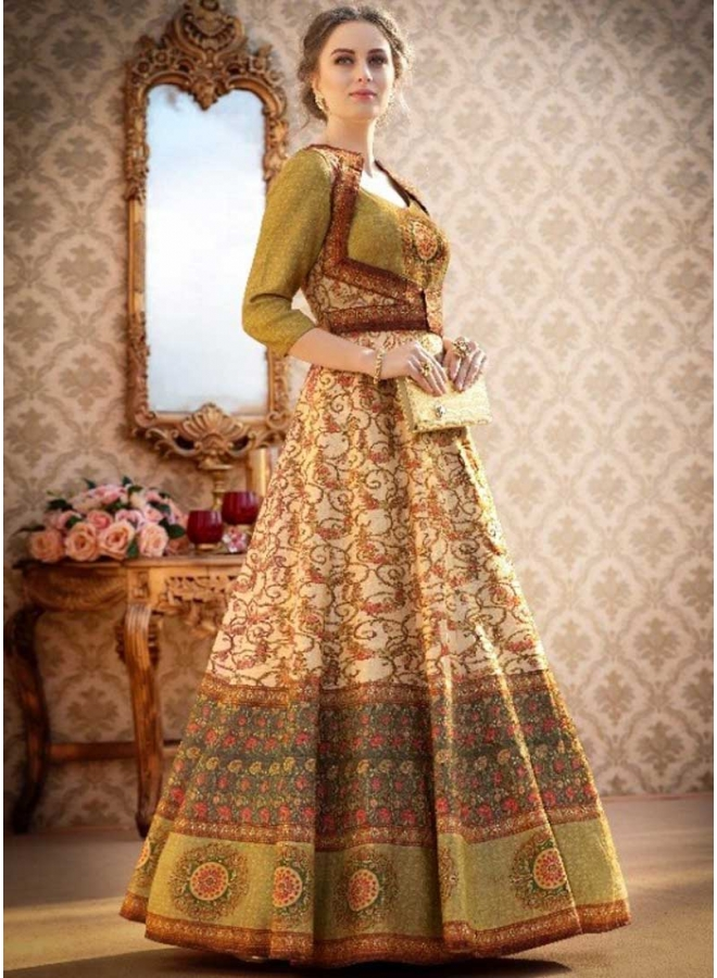 Cream Embroidery Work N Printed Banarasi Silk Fabric Designer Party Wear Gown