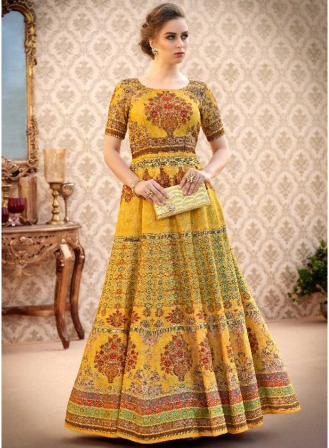 Mustard Embroidery Multi Work N Printed Banarasi Silk Designer Party Wear Gown