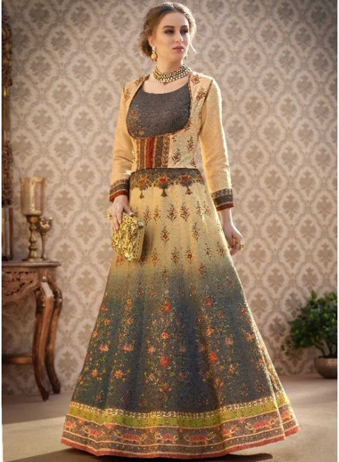 Persian Blue n Cream Embroidery Work N Printed Banarasi Silk Designer Wedding Wear Gown