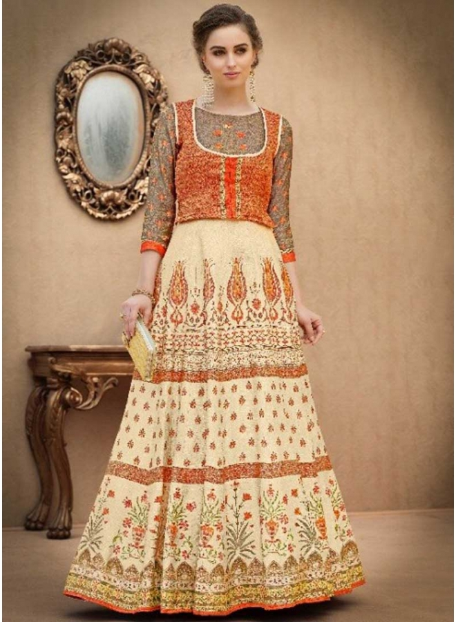 Off White N Orange Embroidery Work N Printed Banarasi Silk Designer Wedding Wear Gown