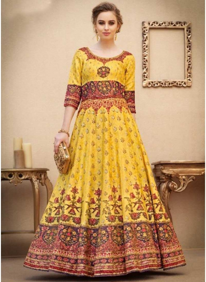 Gold Embroidery Work N Printed Banarasi Silk Designer Party Wear Gown