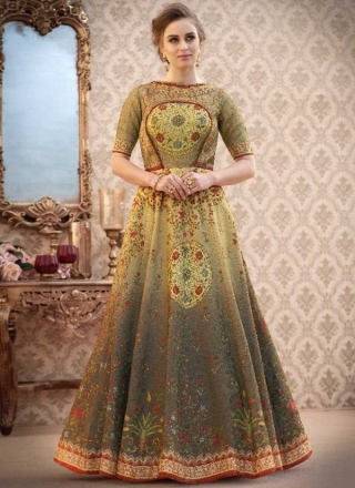 4294d88ccc Grey N Pear Shaded Embroidery Work N Printed Banarasi Silk Designer Wedding Wear  Gown