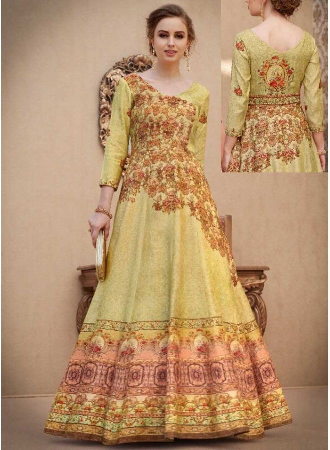Pear Embroidery Multi Work N Printed Banarasi Silk Designer Wedding Wear Gown