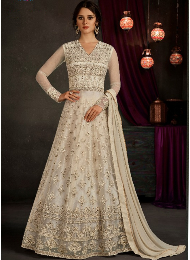 Off White Embroidery Thread Lace Border Work Georgette Designer Gown