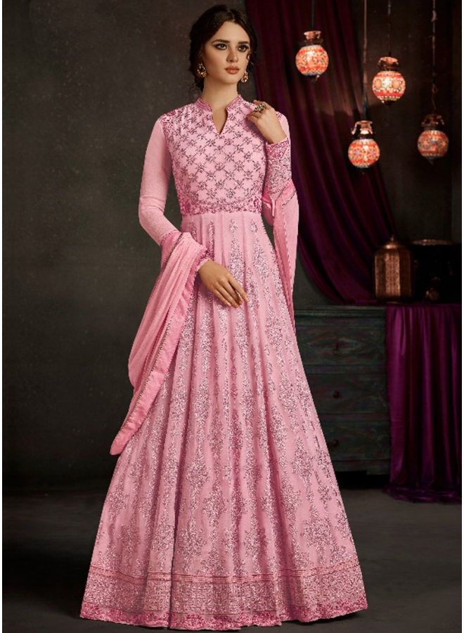Pink Embroidery Thread Work Designer Satin Wedding Wear Long Gown