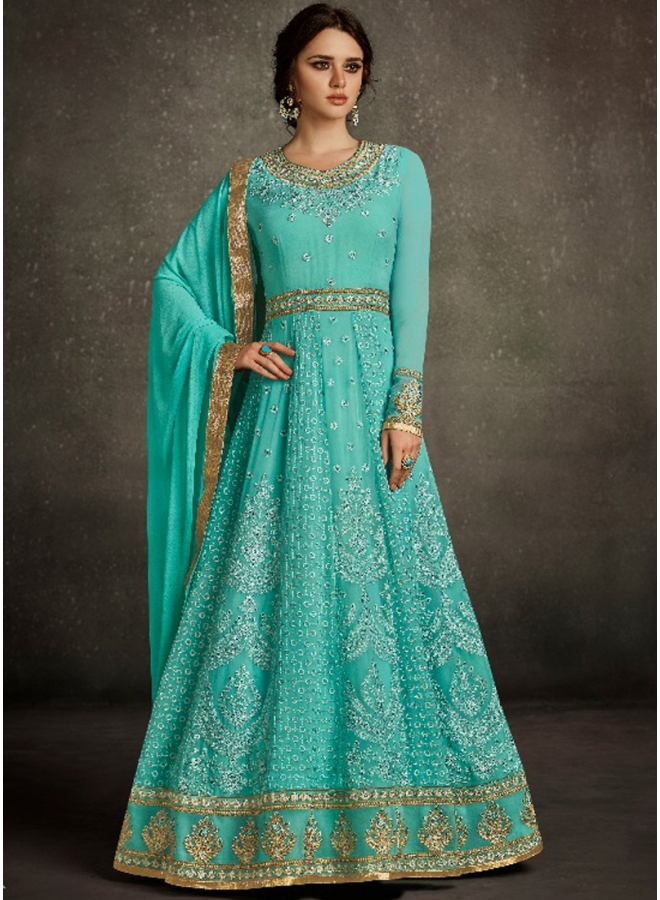 Turquoise Embroidery Sequins Work Georgette Party Wear Designer Gown