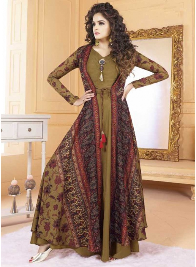 Brown Colour Digital Printed  Silk Fabric Designer Long Party Wear Gown