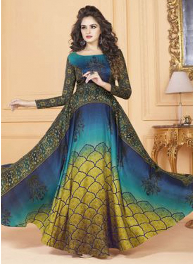 Navy Blue Mustard Embroidery Work Printed Silk Designer Long Party Wear Gown