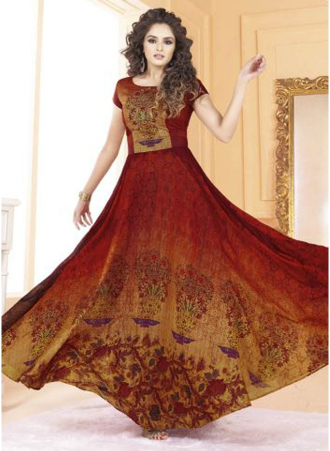Maroon Embroidery Thread Work Printed Silk Designer Party Wear Long Gown
