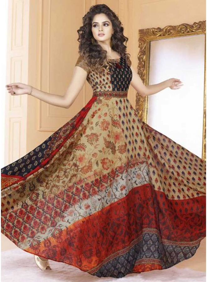 Cream Colour Embroidery Work Printed Silk Fabric Designer Party Wear Long Gown