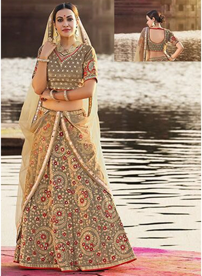 Dark Chiku Embroidery Thread Work Georgette Designer Wedding Wear Lehengha Choli