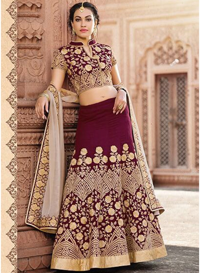 Wine Embroidery Thread  Work Designer Wedding Wear Lehengha Choli