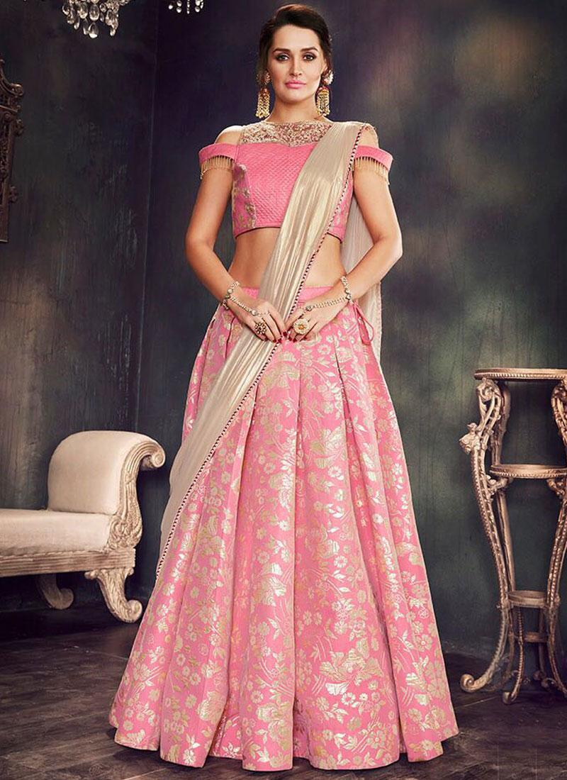 e82d18fab4 Cream Pink Flower Printed Embroidery Work Designer Wedding Wear Lehenga  Choli