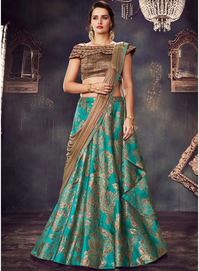 Turquoise Green Antique Gold Embroidery Work N Flower Printed Wedding Wear Designer Lehenga Choli