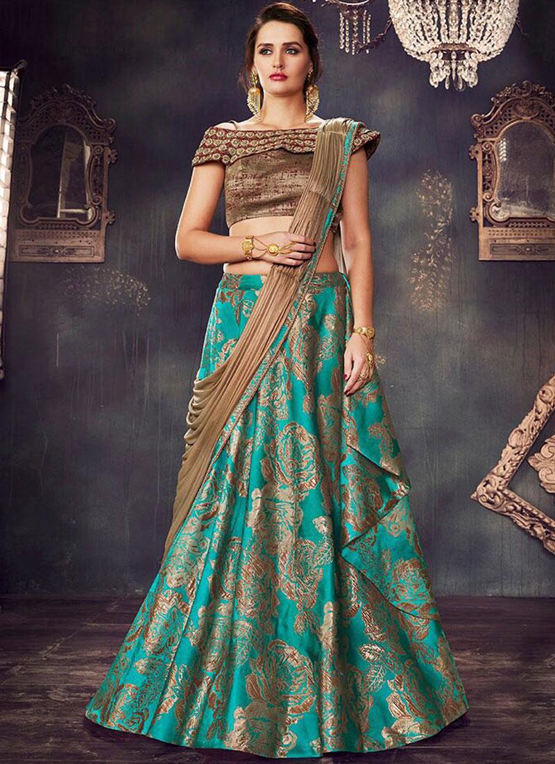 38abedfbf6 Turquoise Green Antique Gold Embroidery Work N Flower Printed Wedding Wear  Designer Lehenga Choli