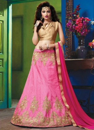 10a8bcdb51 Hot Pink Embroidery Zari Work Designer Raw Silk Wedding Wear Lehenga Choli