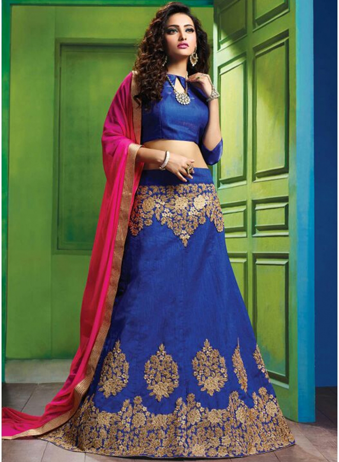 Navy Blue Embroidery Lace Border Work Party Wear Designer A-Line Lehenga Choli