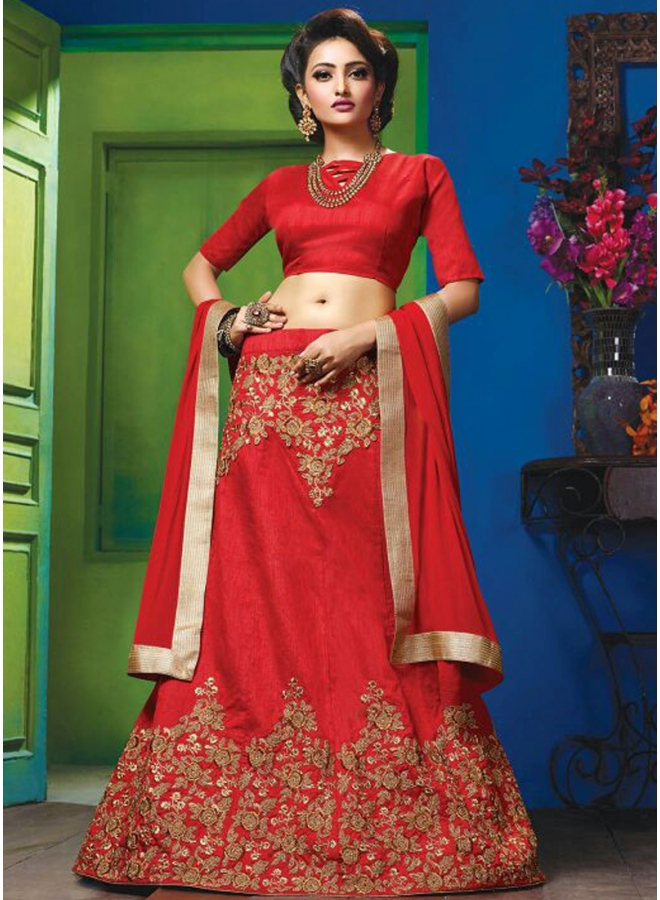 Red Embroidery Sequences Work Raw Silk Fabric Designer Party Wear Lehengha Choli