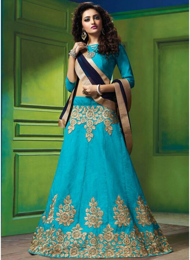 Sky Blue Heavy Embroidery Work Georgette Designer Wedding Lehenga Choli