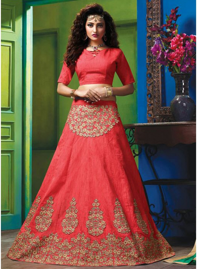 Tometa Red Embroidery Zari Work Raw Silk Wedding Designer Lehenga Choli