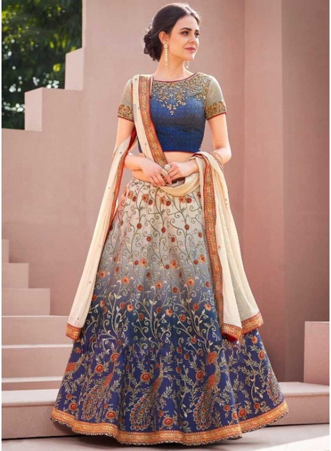 Navy Blue N Peach Embroidery Work N Printed Designer Party Wear Lehenga Choli