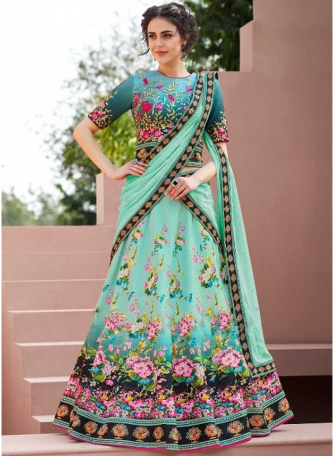 Turquoise Colour Embroidery Thread Work N Printed Satin Silk Party Wear Lehenga Choli