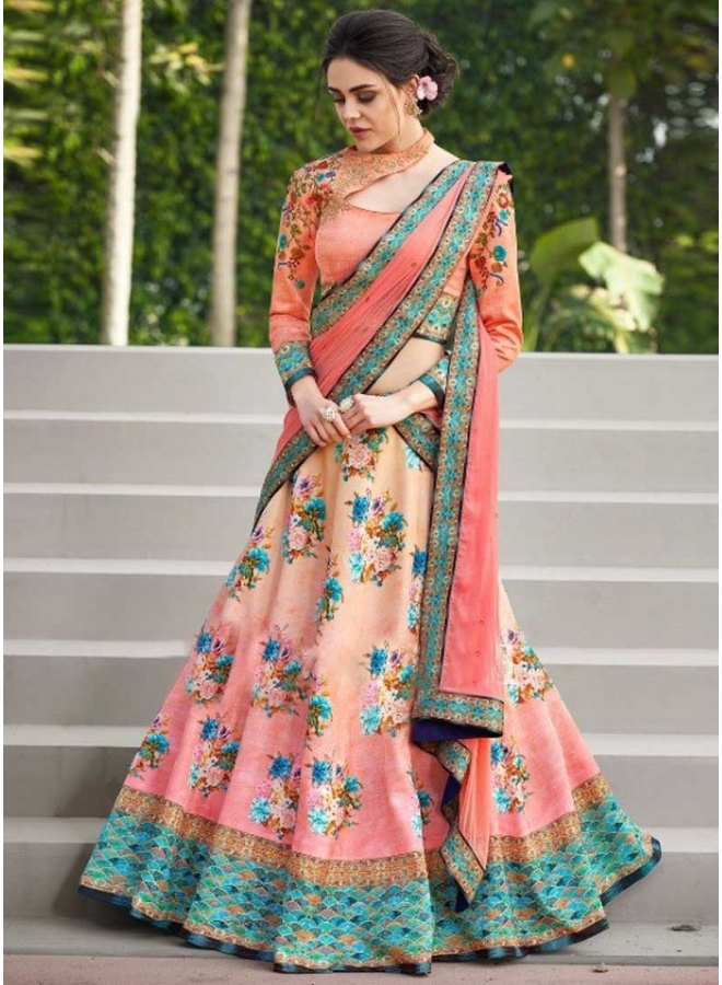 Pink Colour Embroidery Thread Work N Printed Satin Silk Designer Lehenga Choli