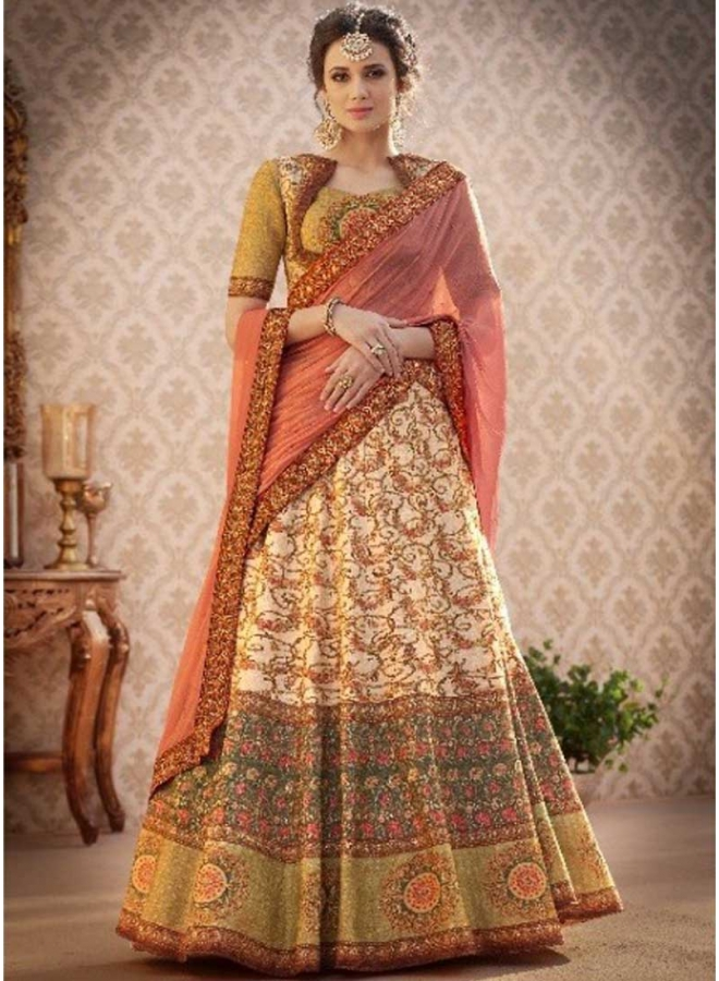 Cream N Chikku Embroidery Work N  Printed Banarasi Silk Designer Party Wear Lehenga Choli