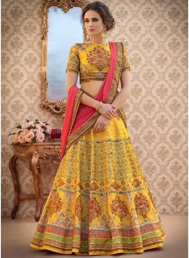 Mustard N Cerise Embroidery work N Printed Banarasi Silk Designer Party Wear Lehenga Choli