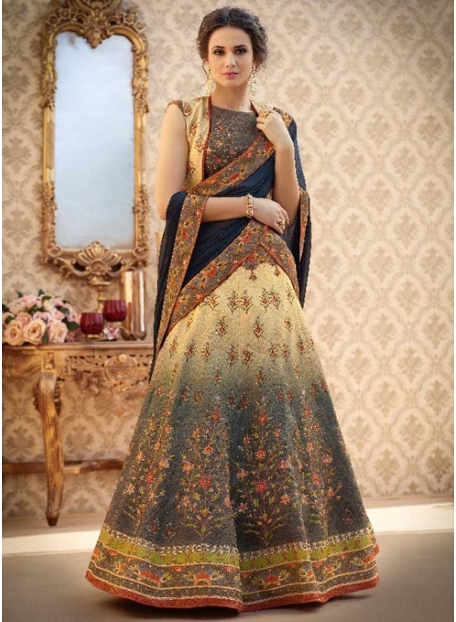 Persian Blue N Cream Embroidery Work N Printed Banarasi Silk Party Wear Lehenga Choli