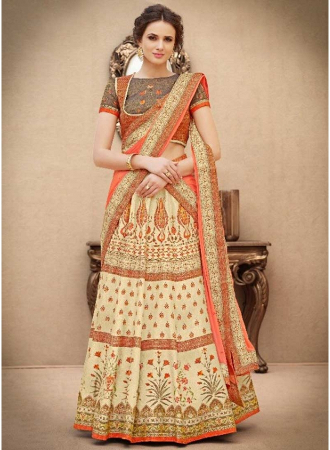 Off White N Orange Embroidery  Work N Printed Banarasi Silk Party Wear Lehenga Choli