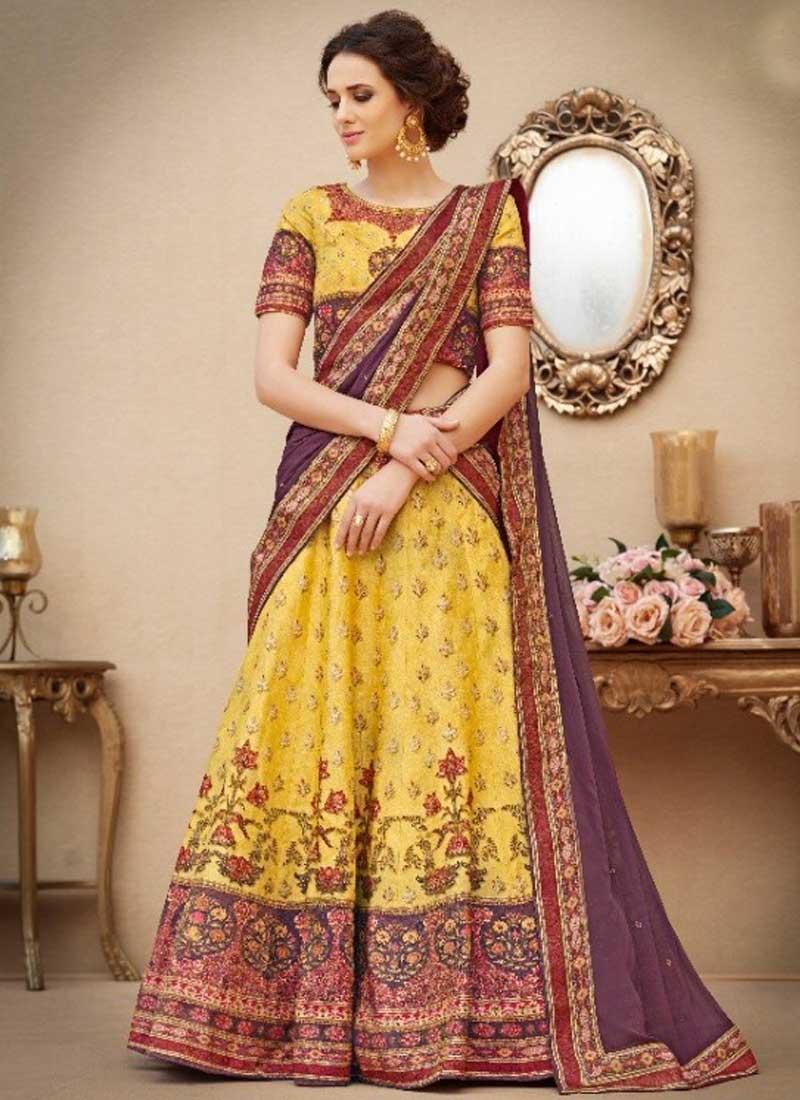 672ffff7aa7 Gold N Purple Embroidery Work N Printed Banarasi Silk Designer Party Wear  Lehenga Choli
