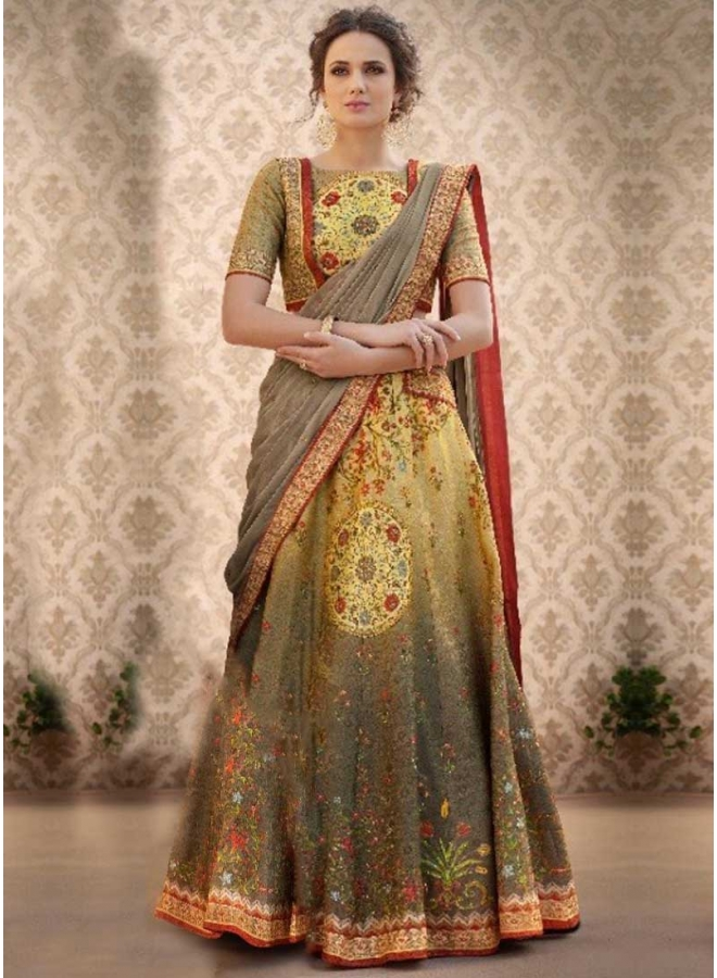 Grey N Pear Shaded Embroidery Work N Printed Banarasi Silk Wedding Wear Lehenga Choli
